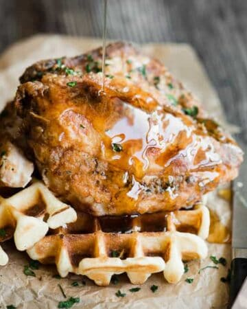 Syrup on top of Chicken and Waffles