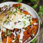 How to make authentic Mexican Chilaquiles with red sauce and eggs