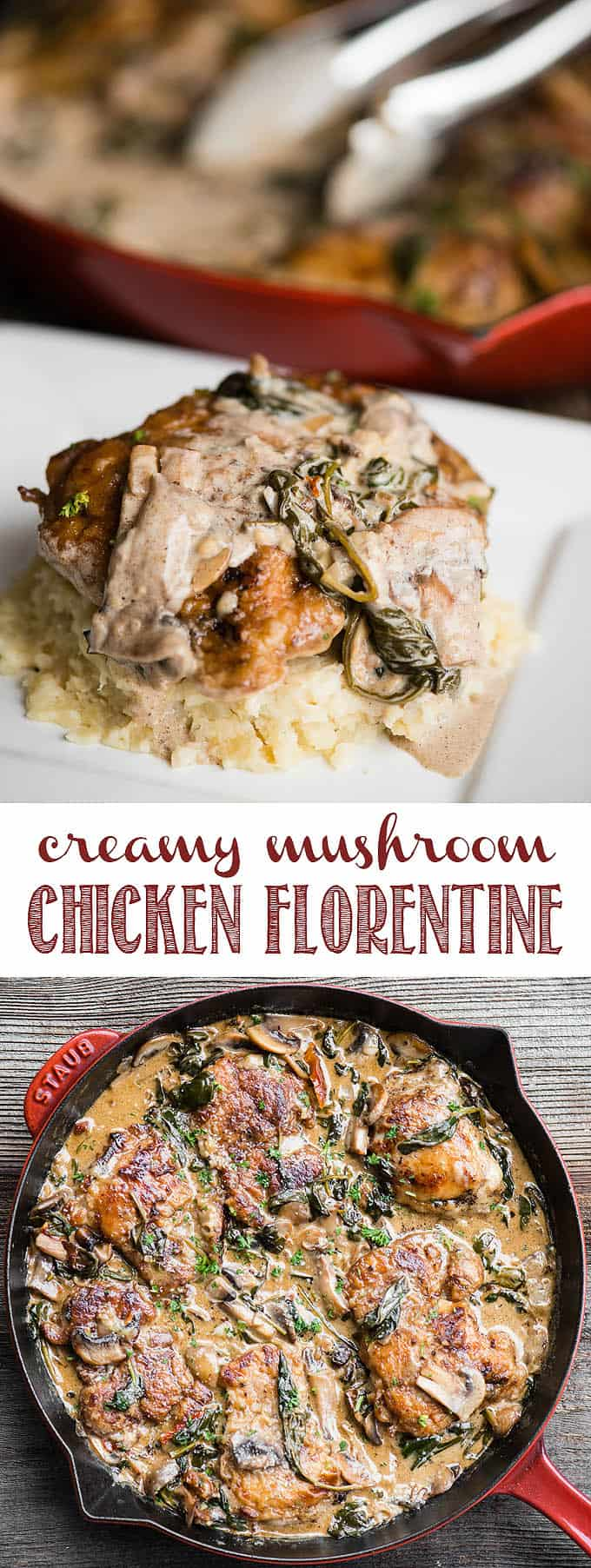 Creamy Mushroom Chicken Florentine with spinach is an outstanding and easy to make dinner recipe. This is especially true when served on top of homemade mashed potatoes or pasta and paired with a fresh green salad. If you're looking for a chicken dinner recipe that your family will love, look no further. #chicken #mushroom #spinach #chickenflorentine #dinner #chickendinner