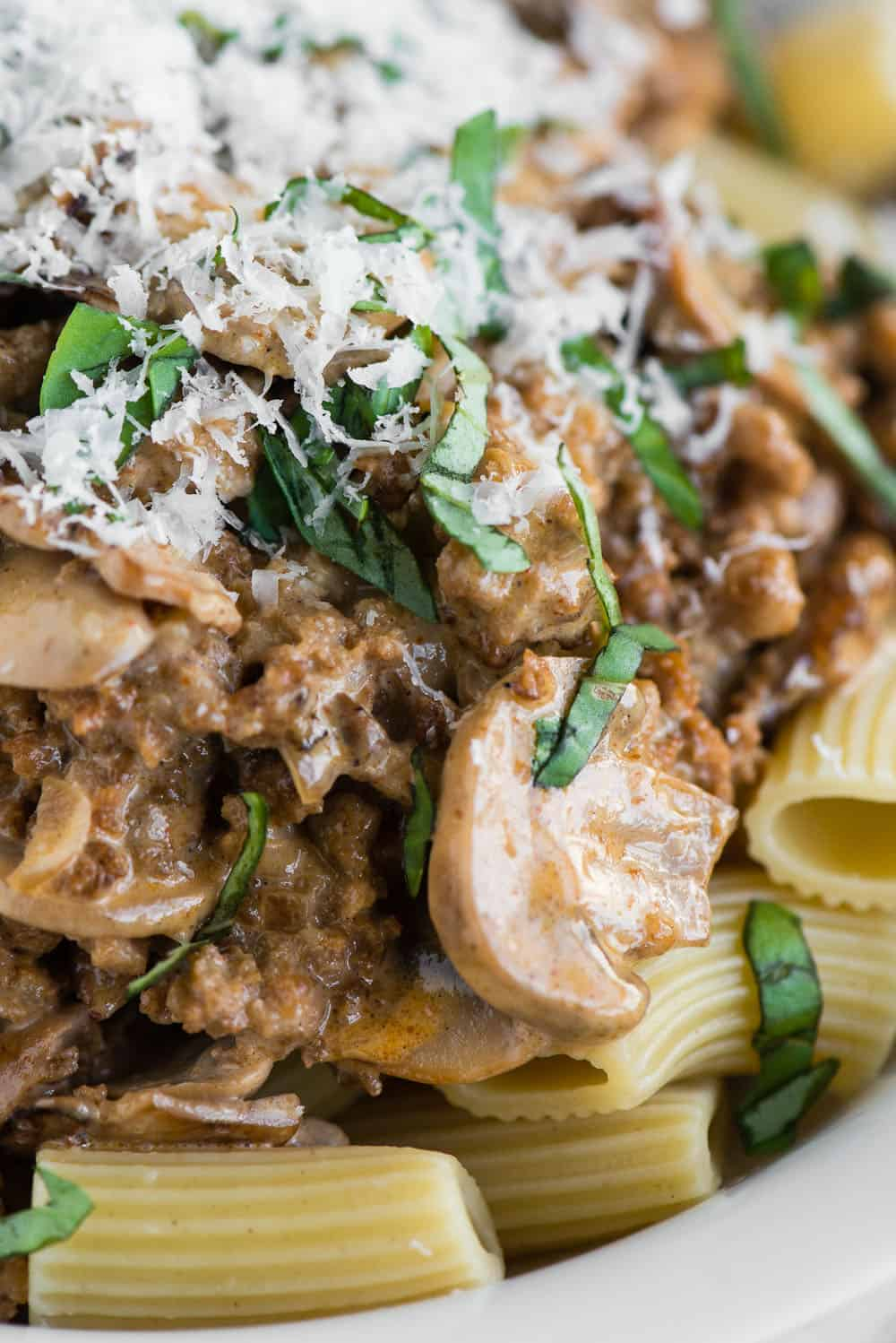 sausage mushroom rigatoni with basil and parmesan