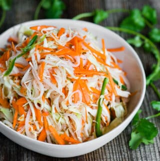 bowl of authentic Curtido cabbage slaw