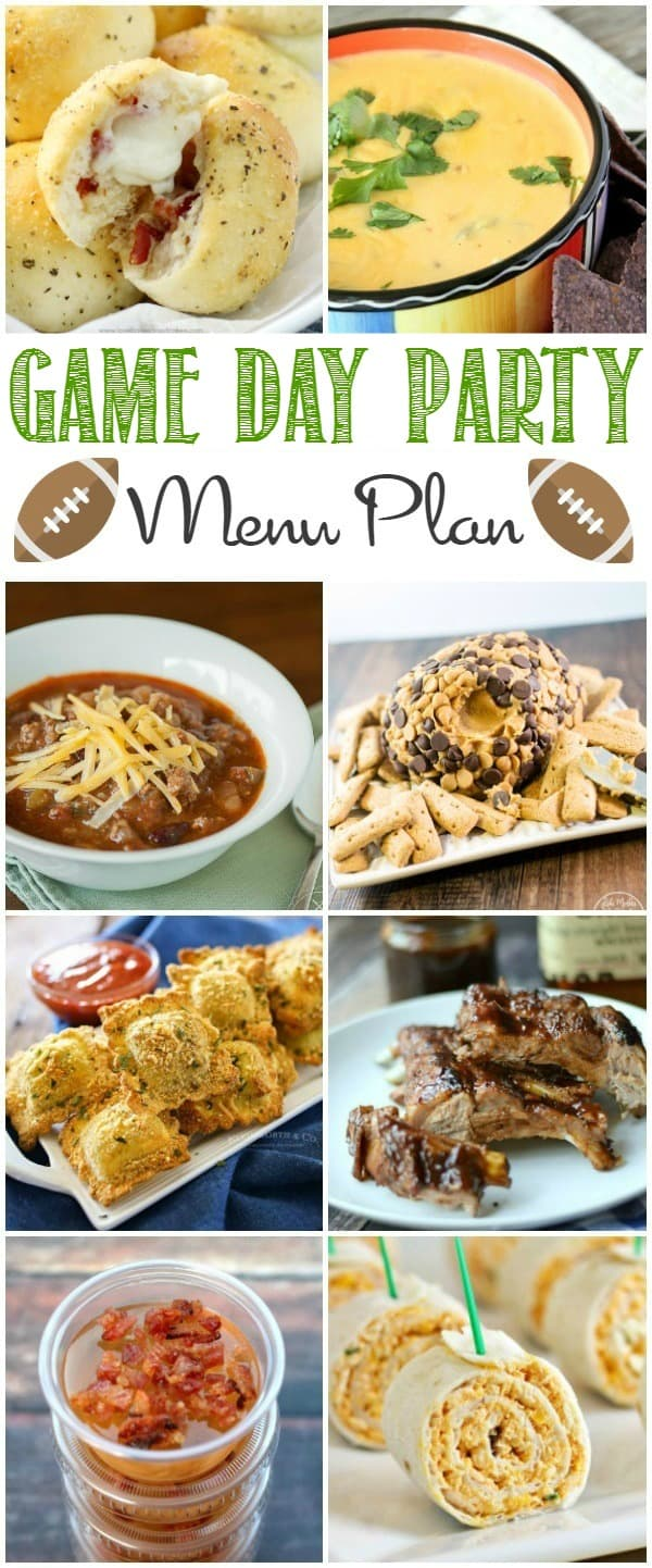 Planning a party for the big game? I've got the best Superbowl Party Menu Plan, complete with appetizers, drinks, main dishes, and drinks!