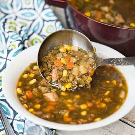 My Green Chile Stew, made with New Mexican roasted Hatch green chile, pork tenderloin, potatoes and corn, is the ultimate spicy and healthy comfort food!