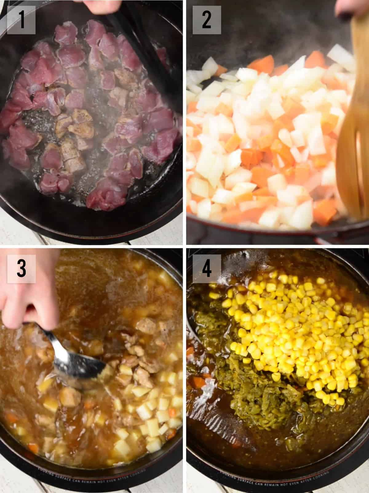 step by step process photos how to make green chile pork stew