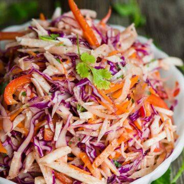 recipe for vegan jicama slaw salad