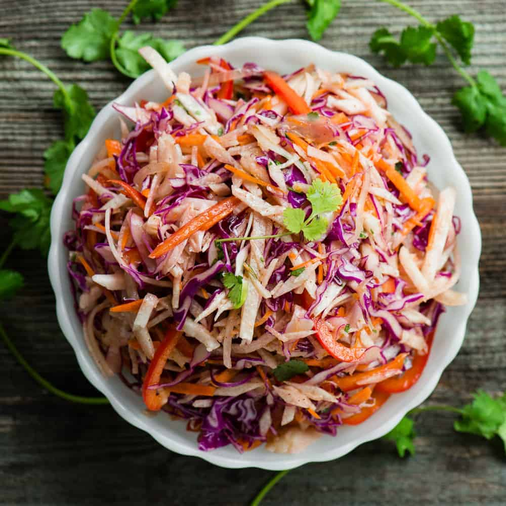 fresh jicama slaw recipe with light vinaigrette