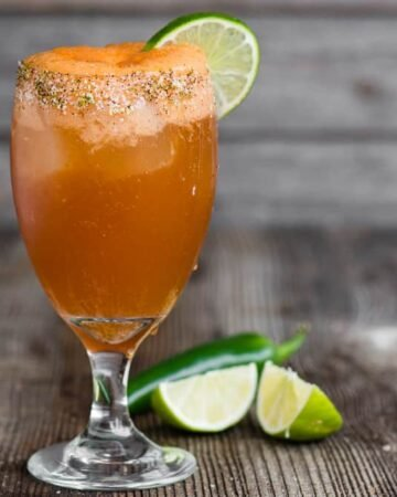 Spicy and sour Mexican Michelada drink