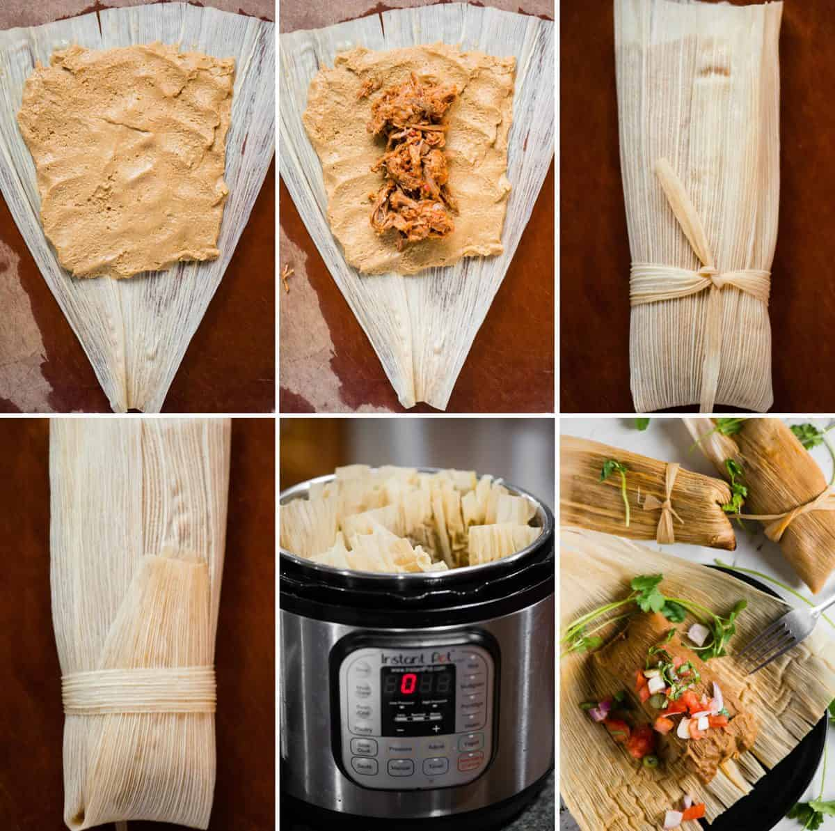 Authentic Instant Pot Pork Tamales step by step process photos