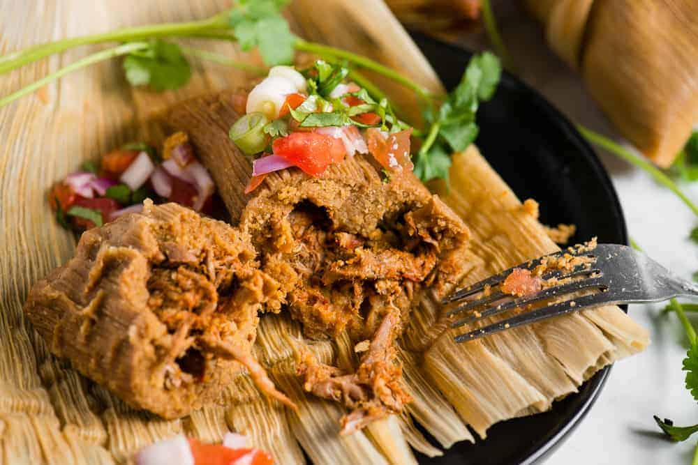 inside of Authentic Instant Pot Pork Tamales