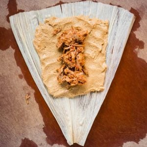 masa harina tamale with shredded pork