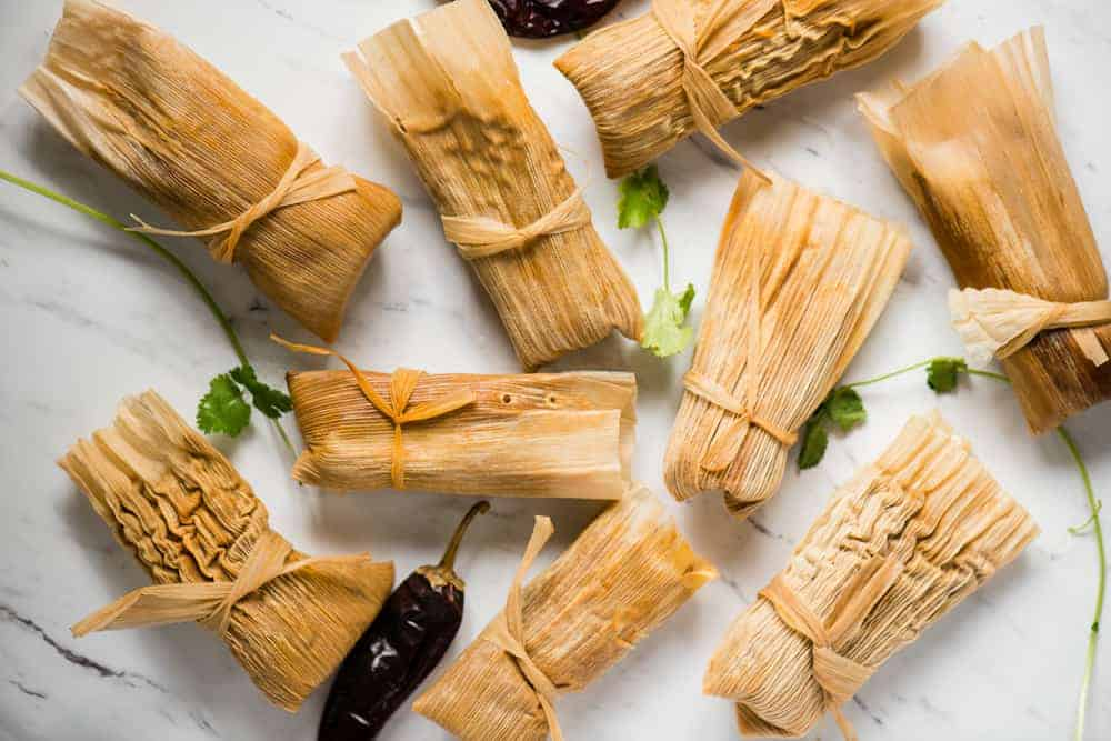 corn husk wrapped pork tamales