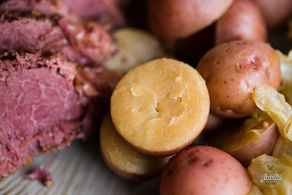 halved potatoes with beef and cabbage