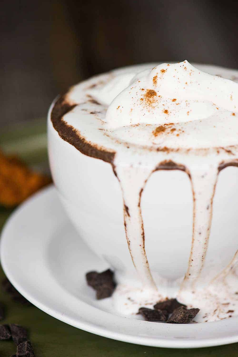 Pumpkin Spice Hot Chocolate with real pumpkin puree is a classic warm fall drink. Homemade hot chocolate .