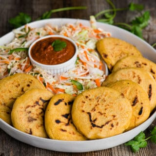 homemade bean pupusas with curtido cabbage slaw