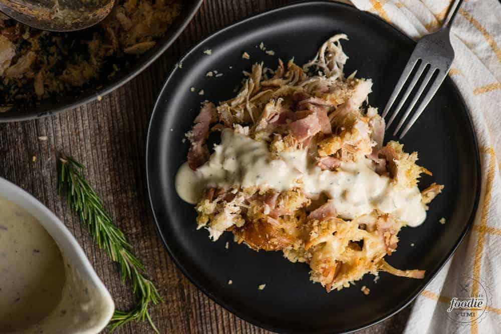 chicken cordon bleu casserol with rotisserie chicken