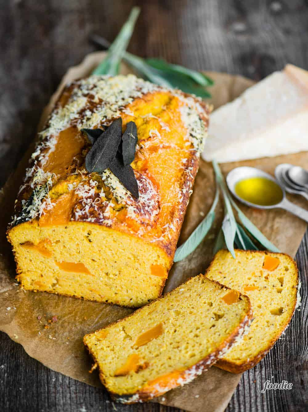 savory butternut squash cake with Parmesan in the background