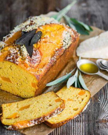 A loaf of savory Parmesan butternut squash cake