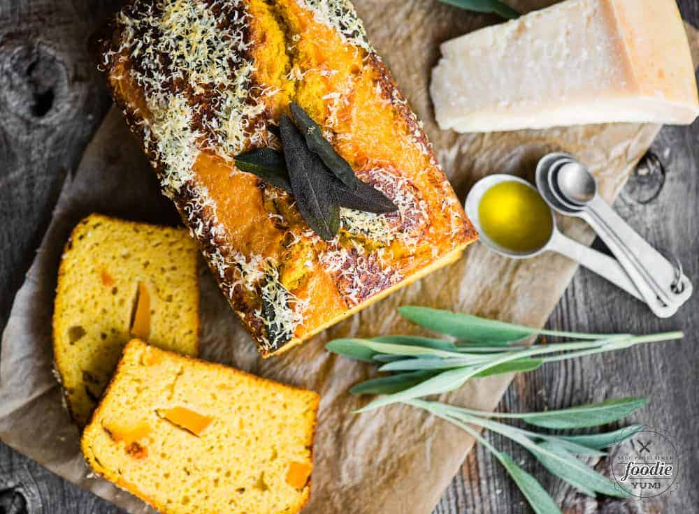 A loaf of savory butternut squash cake
