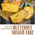 recipe for homemade savory parmesan butternut squash cake