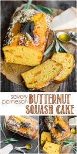 recipe for homemade savory parmesan butternut squash cake