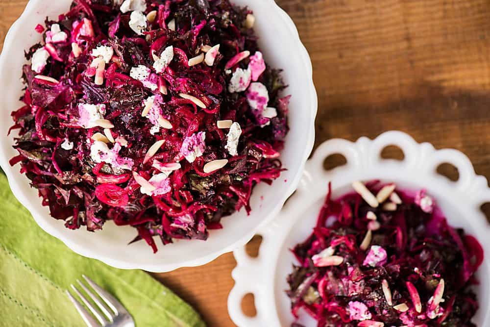 Shredded Beet and Kale Salad with a homemade vinaigrette is a healthy, vibrant, and colorful side dish that goes great with family dinner!
