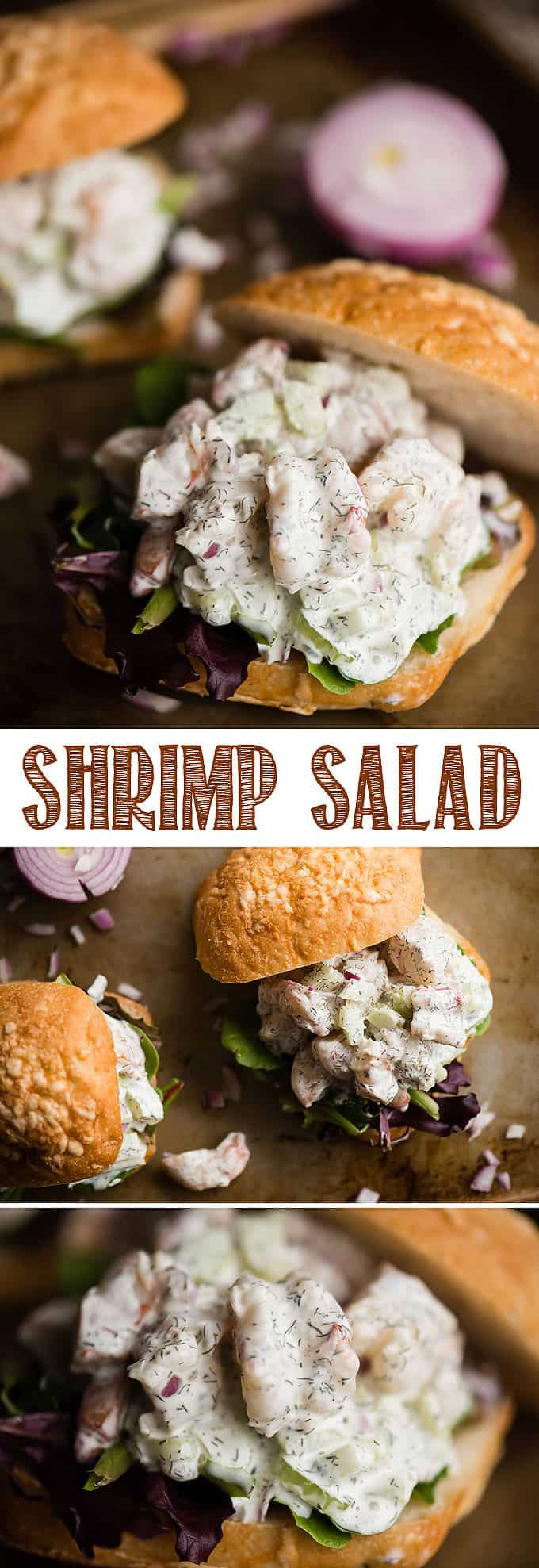 Shrimp Salad is very similar to everyone's favorite chicken salad or tuna salad, however this recipe combines gently poached shrimp, vegetables for crunch, and a light and creamy lemon dill sauce. Perfect for lunch as a sandwich or a tasty snack with crackers, you'll love this easy and delicious seafood recipe! #shrimpsalad #shrimp #salad #shrimpsaladsandwich