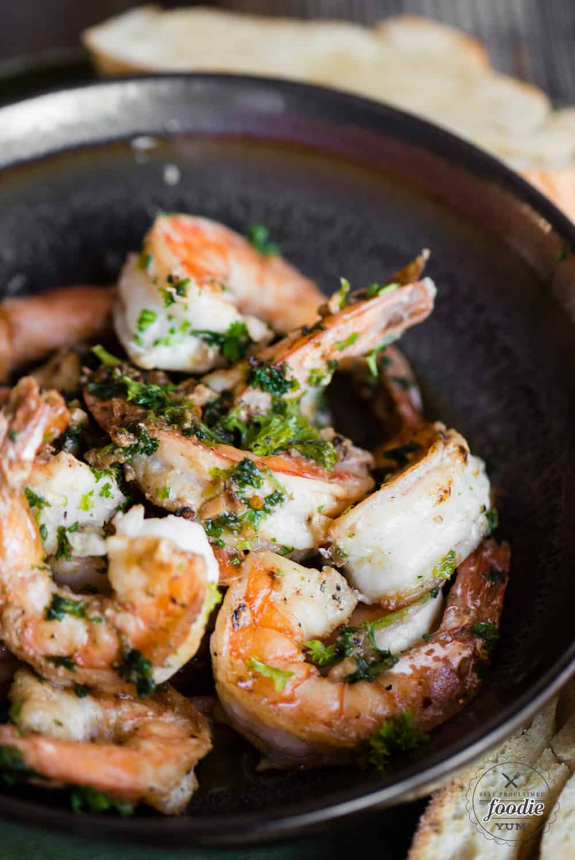 Best Shrimp Scampi recipe in dark bowl
