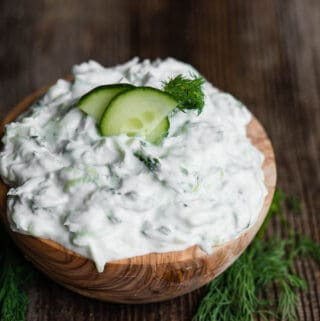 bowl of creamy Tzatziki sauce