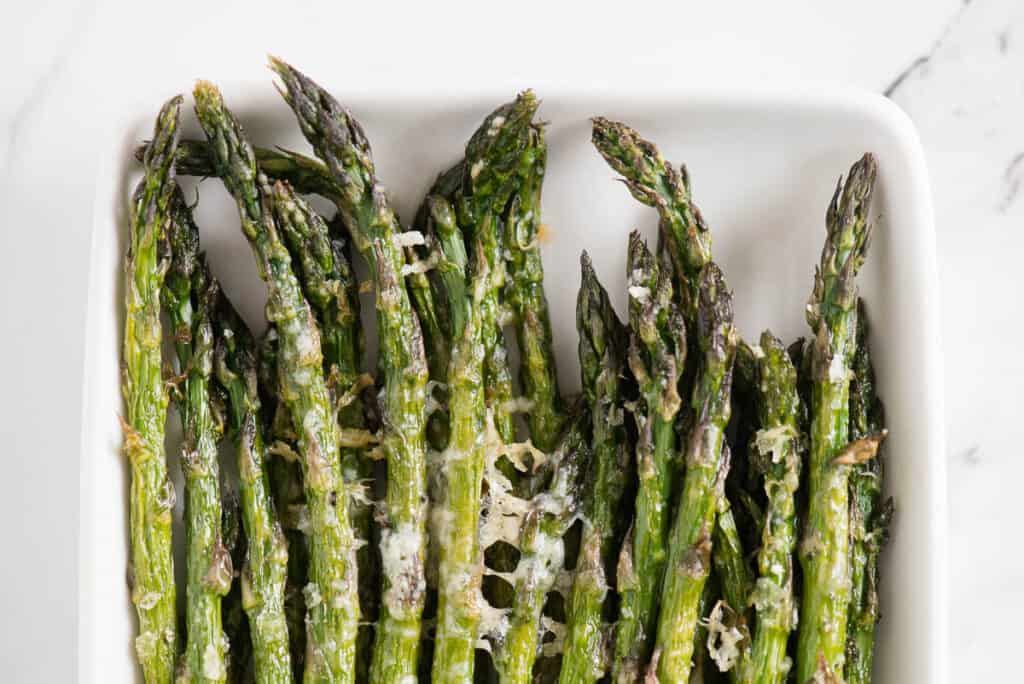 crispy asparagus tips with parmesan cheese