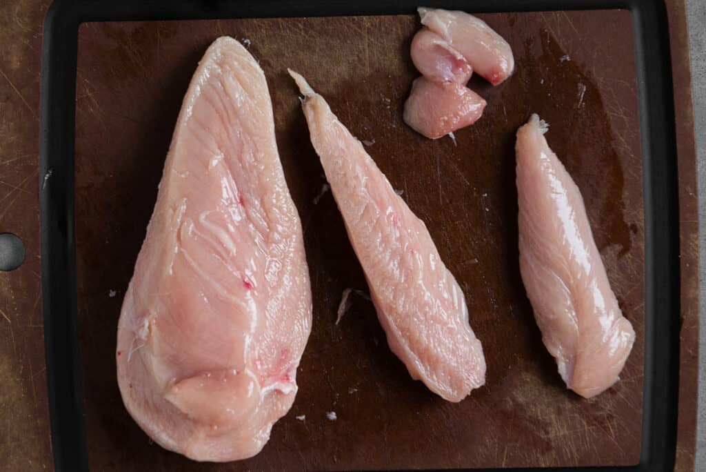 chicken breast with tender cut away