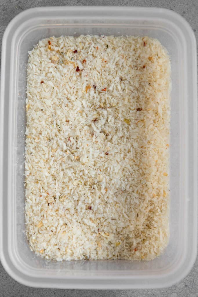 container with bread crumbs and parmesan