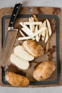how to cut russet potatoes to make french fries