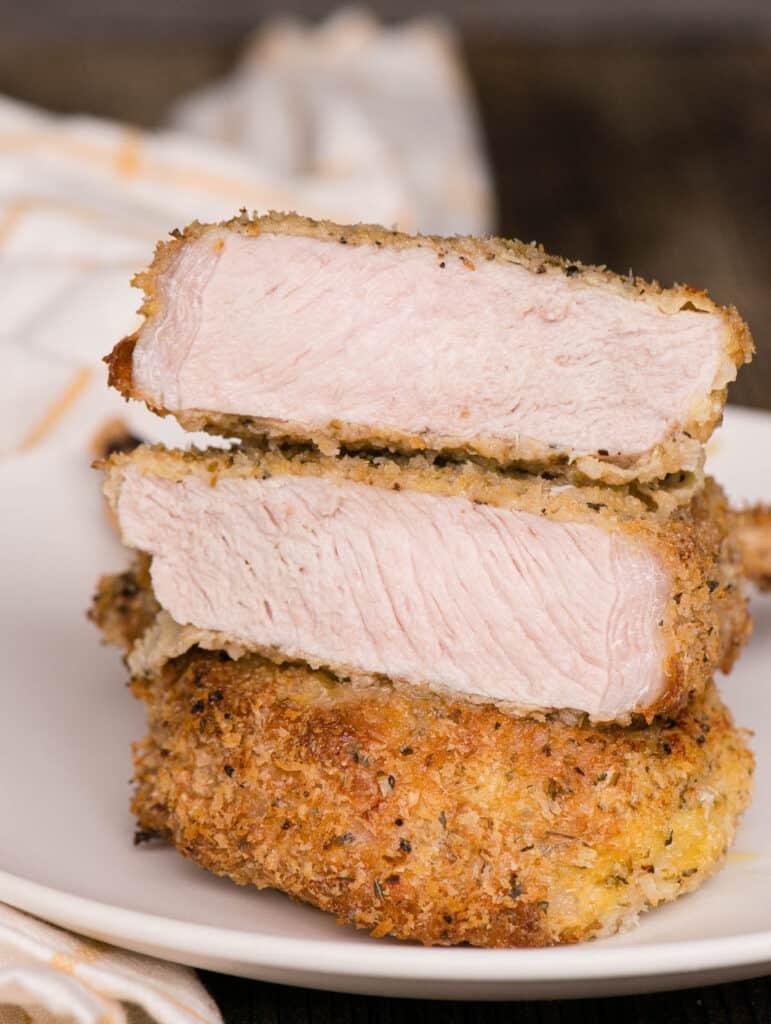 breaded bone in pork chop cut in half