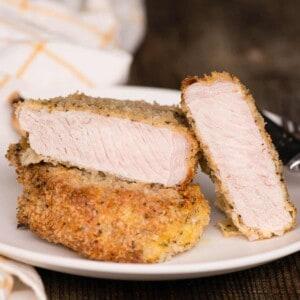 breaded pork chop cut in half