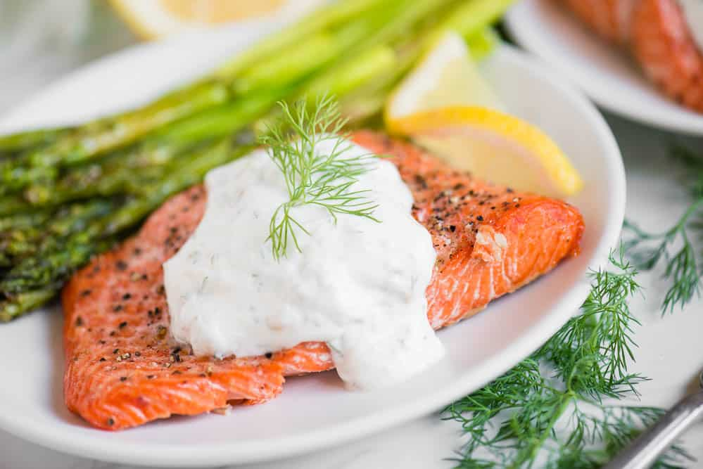 the best healthy Air Fryer Salmon and Asparagus with a Lemon Dill Sauce