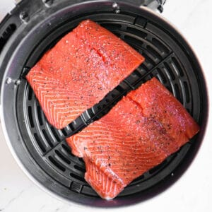 fresh salmon before it gets cooked in an air fryer