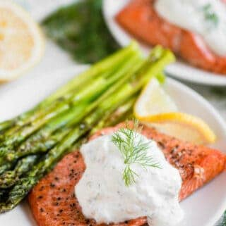 how to make Air Fryer Salmon and Asparagus with a Lemon Dill Sauce