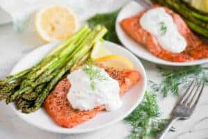 recipe for Air Fryer Salmon and Asparagus with a Lemon Dill Sauce