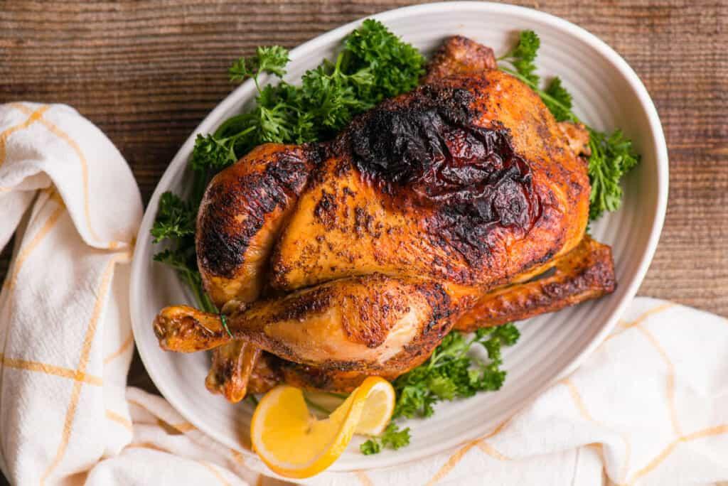 whole chicken on platter