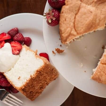 No matter the time of year, nothing beats my favorite fluffy, pure white, perfectly sweet homemade Angel Food Cake smothered in fresh fruit for dessert.