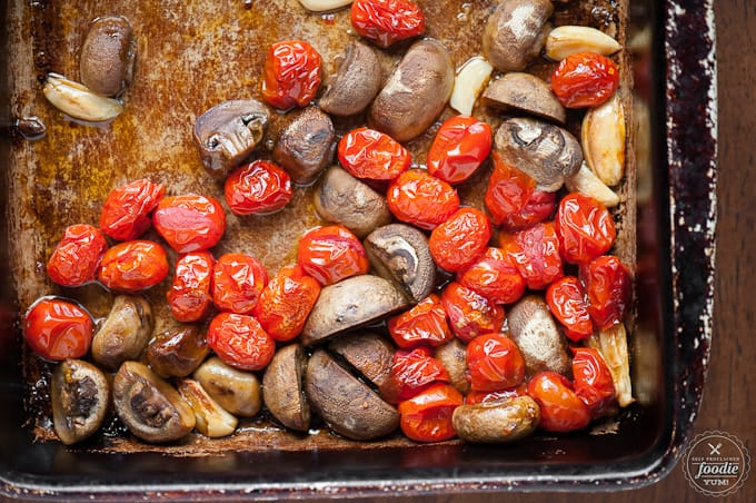 roasted garlic with cherry tomatoes and mushrooms