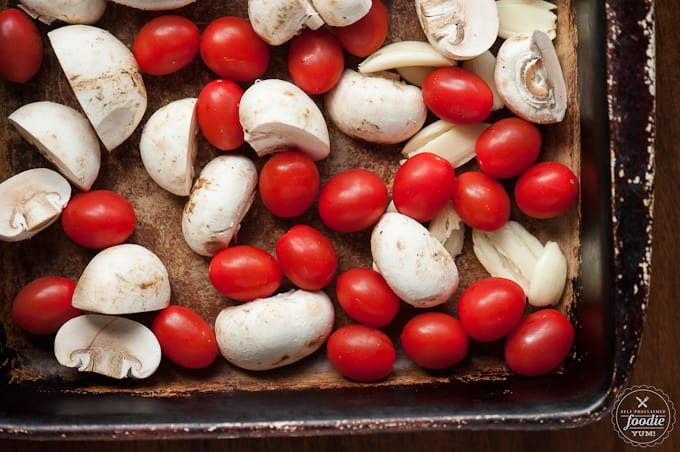 cherry tomatoes, mushrooms, and garlic