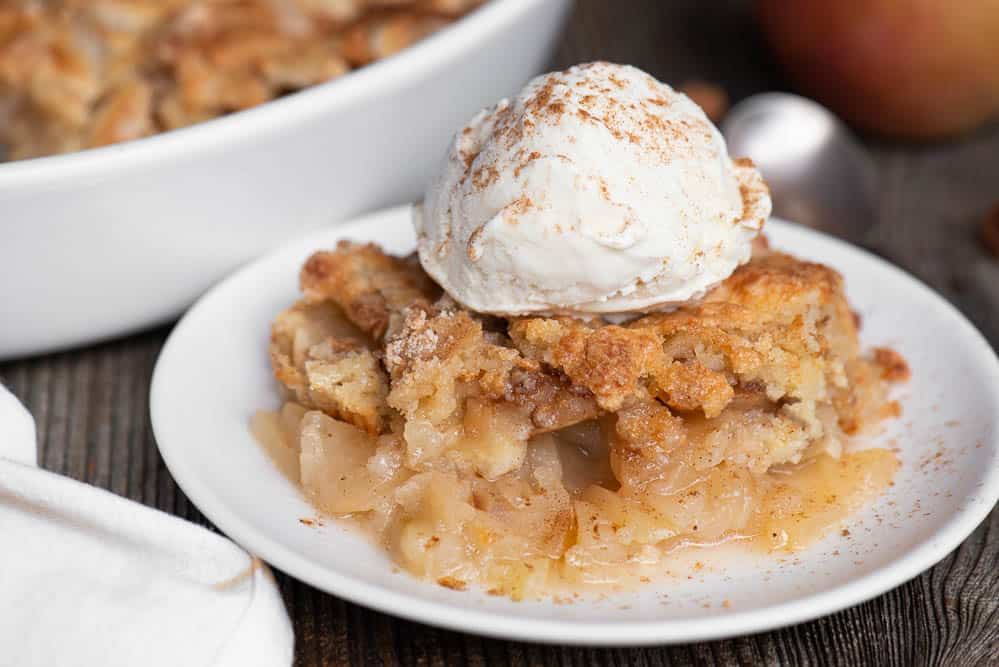 Apple Cobbler with scoop of vanilla ice cream