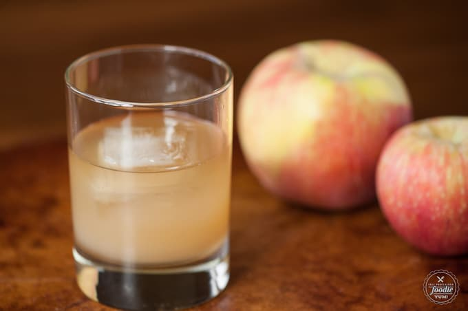 apple juice and ginger in a glass
