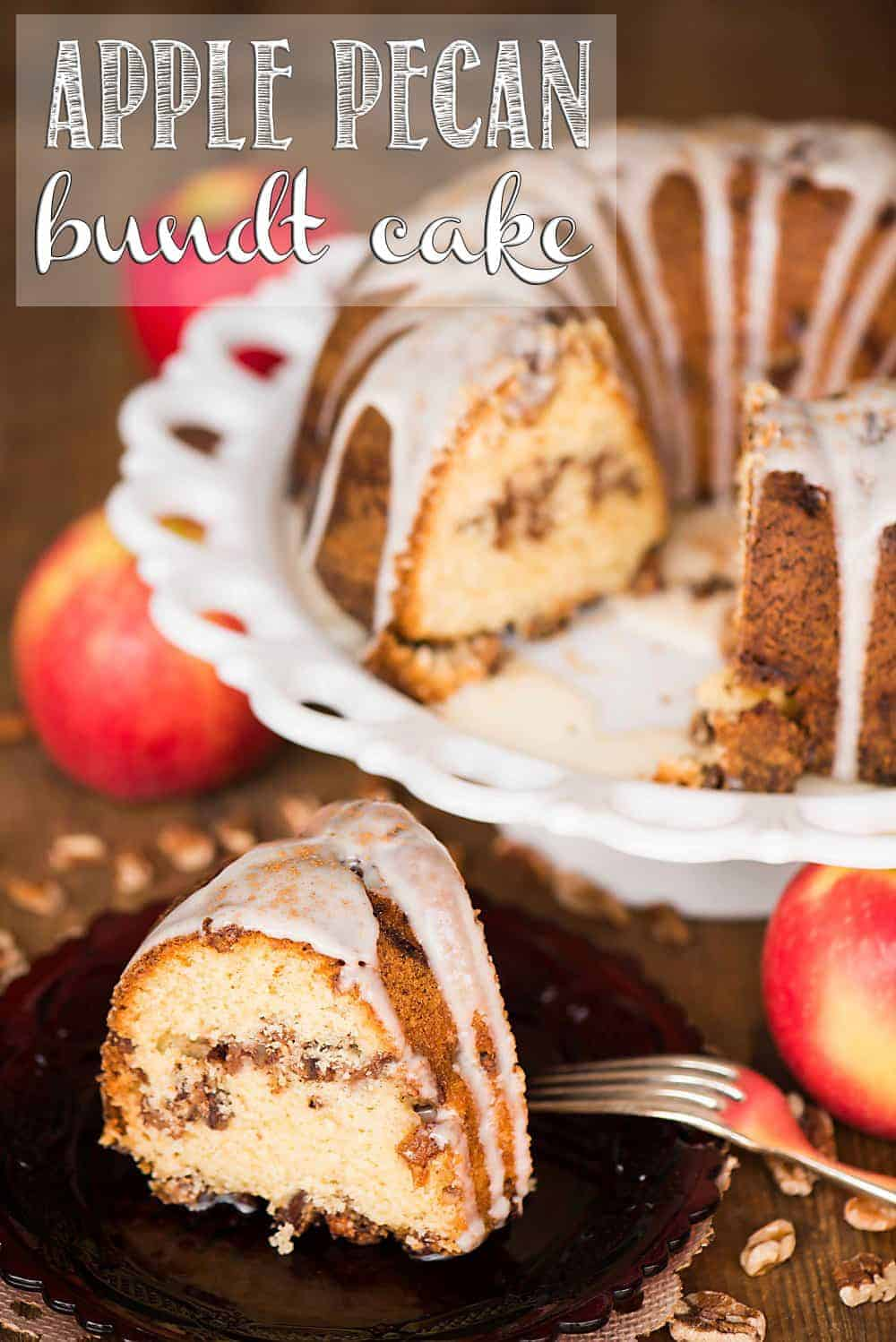 Apple Pecan Bundt Cake is an easy, made from scratch moist cake recipe full of your favorite fall flavors. It is perfect to enjoy for breakfast or dessert!