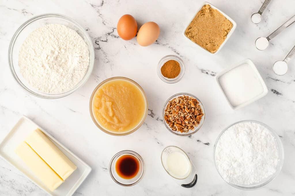 ingredients to make old fashioned Applesauce Cake