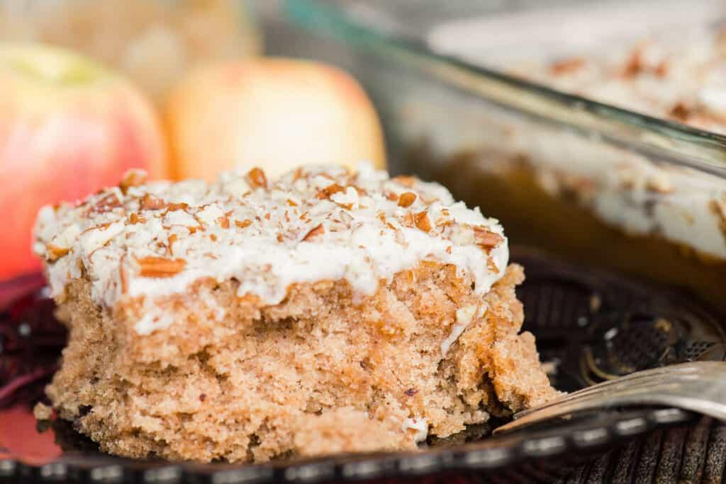 close up of applesauce spice cake