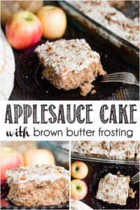 recipe for homemade applesauce cake with brown butter frosting