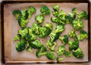 fresh broccoli about to be roasted