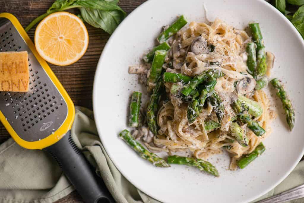 homemade asparagus mushroom Fettuccine Alfredo with lemon
